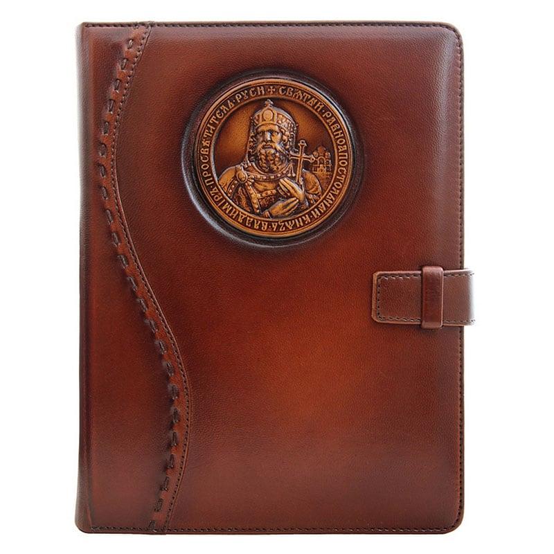 Кожаный блокнот Святой Князь Владимир brown leather