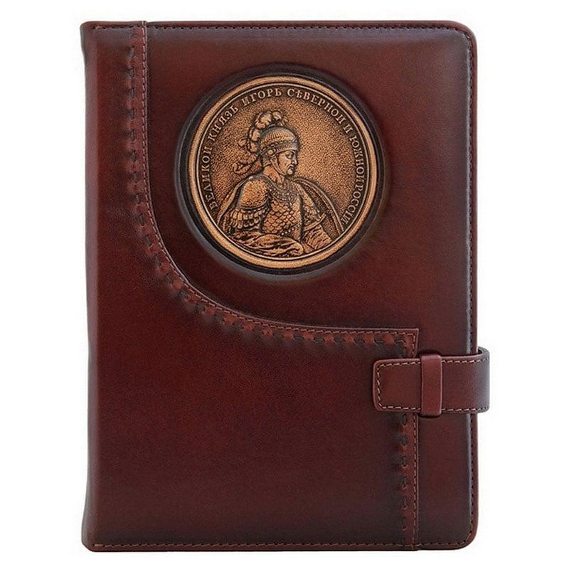 Кожаный ежедневник Святой Князь Игорь brown leather