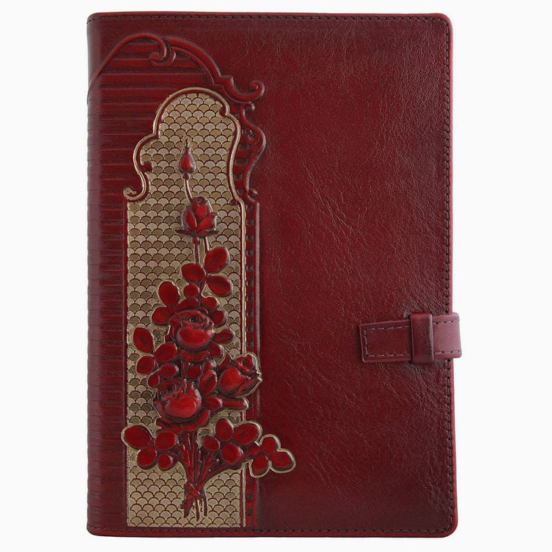Кожаный женский ежедневник Climbing Roses red leather