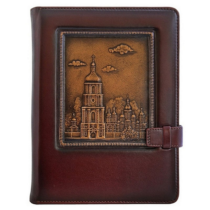 Блокнот в кожаной обложке Софийский Собор brown leather