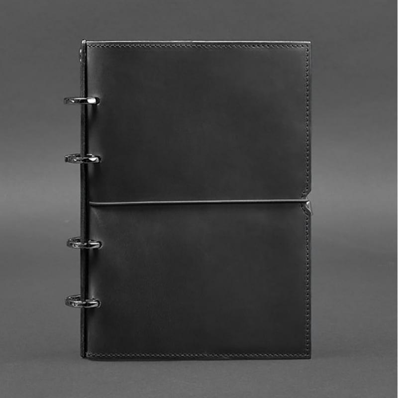 Шкіряний блокнот на кільцях Рithiness Black Leather