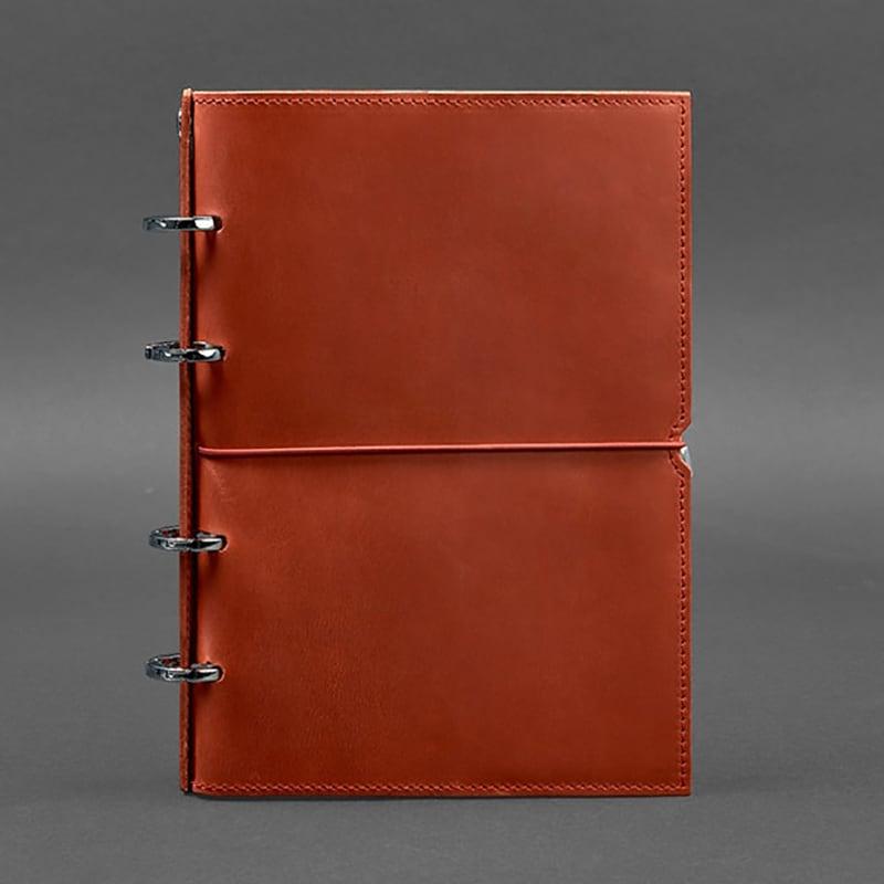 Кожаный блокнот на кольцах Coral Brown Leather