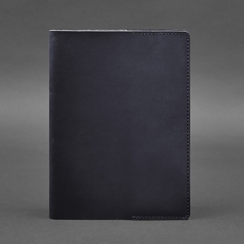 Обложка кожаная для блокнота Navy Blue Leather