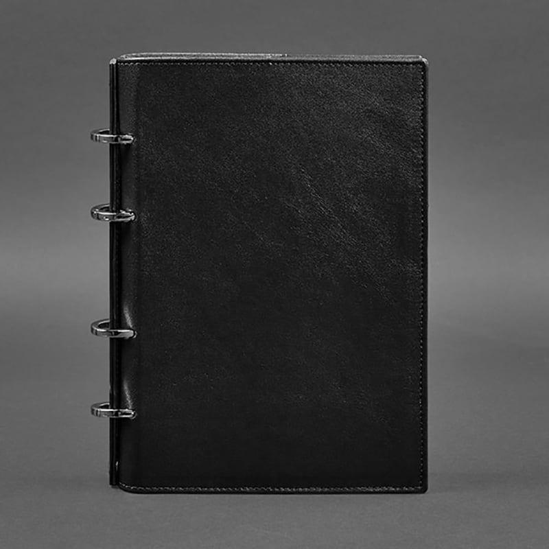 Шкіряний блокнот на кільцях Krust Black Leather