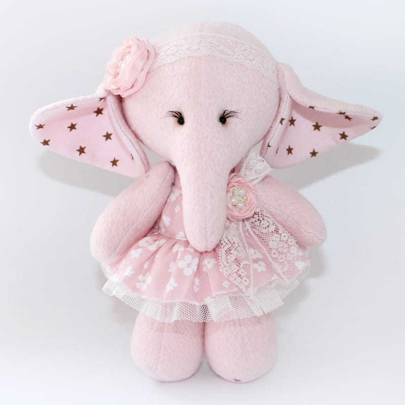 Дизайнерская игрушка Handmade Розовый Слоник Тильда
