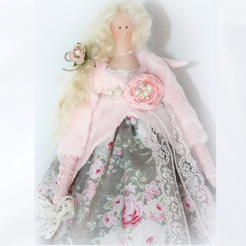 Handmade дизайнерская игрушка Ангел с Розой Тильда