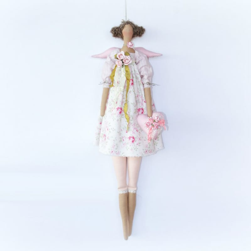 Романтическая дизайнерская кукла Ангел с Кудрями Тильда