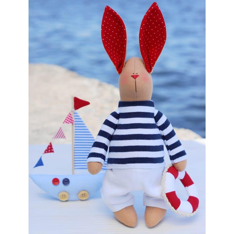 Изящная дизайнерская кукла Тильда Кролик Морячок