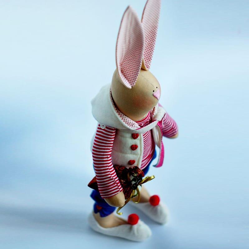 Модная дизайнерская игрушка Зайка в тельняшке Тильда