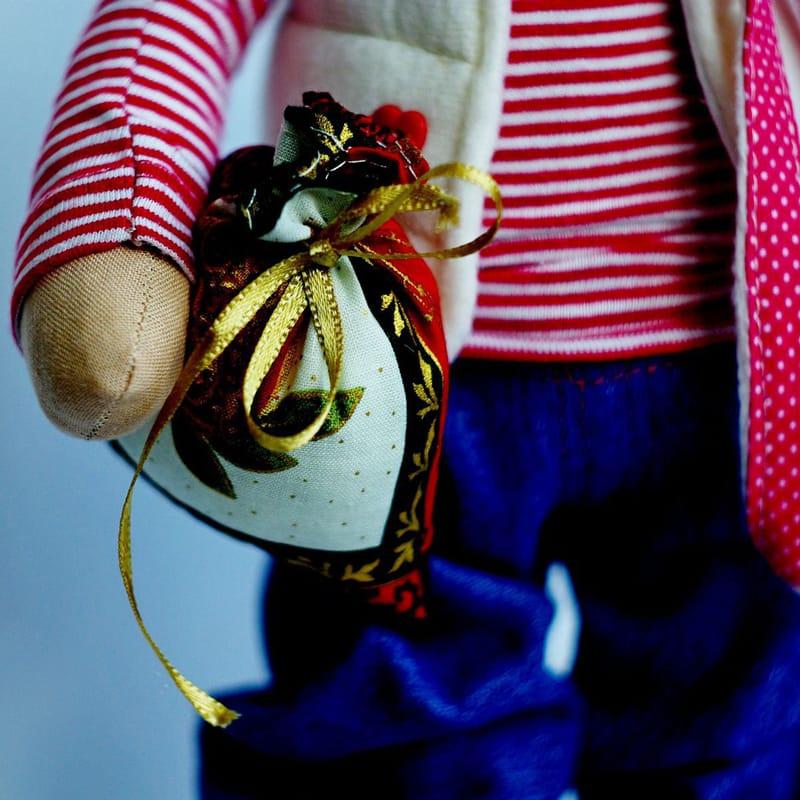 Кукла Тильда Зайка в Тельняшке