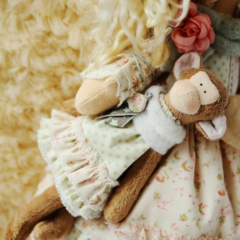 Стильная дизайнерская игрушка Ангел с Обезьянкой Тильда