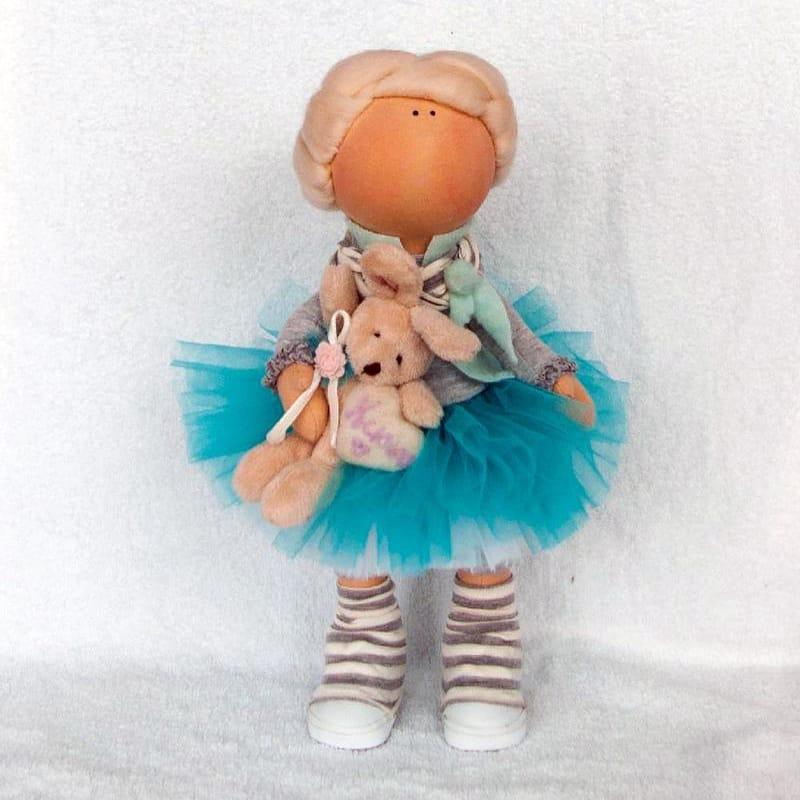 Красивая коллекционная кукла Hand-made Блондинка с Зайкой