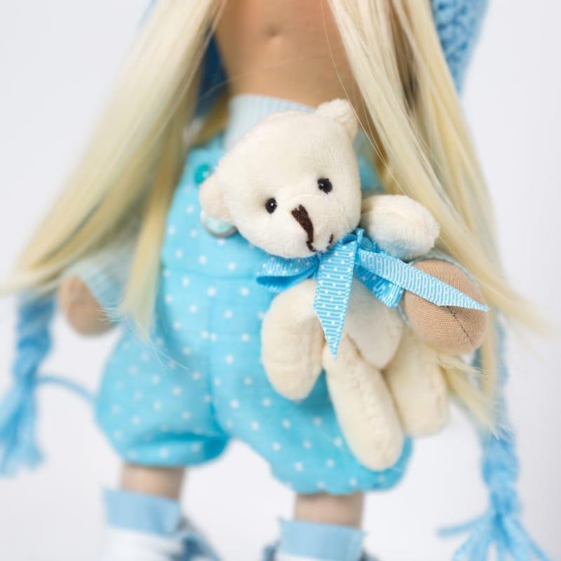 Дизайнерська лялька у подарунок Дівчинка у блакитному з ведмежам