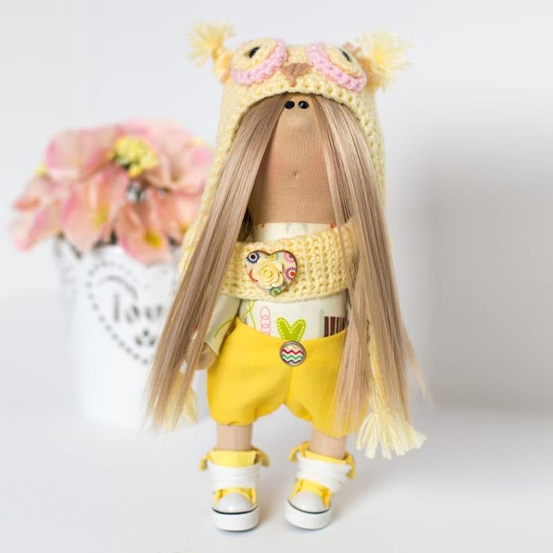 Кукла hand made в подарок Девочка в шапочке Желтый Совёнок