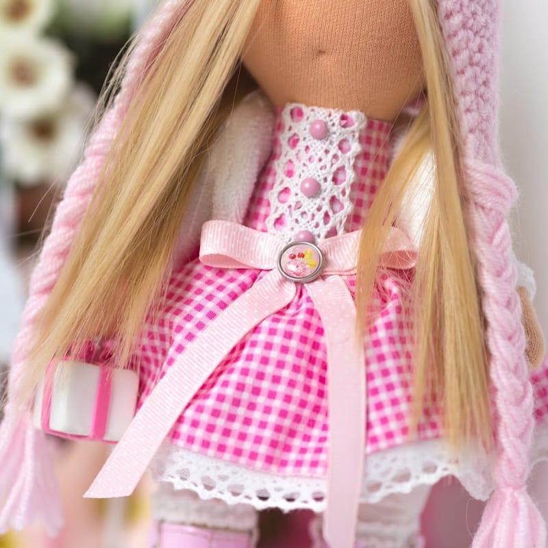 Кукла в подарок Девочка в шапочке Розовый Медвежонок