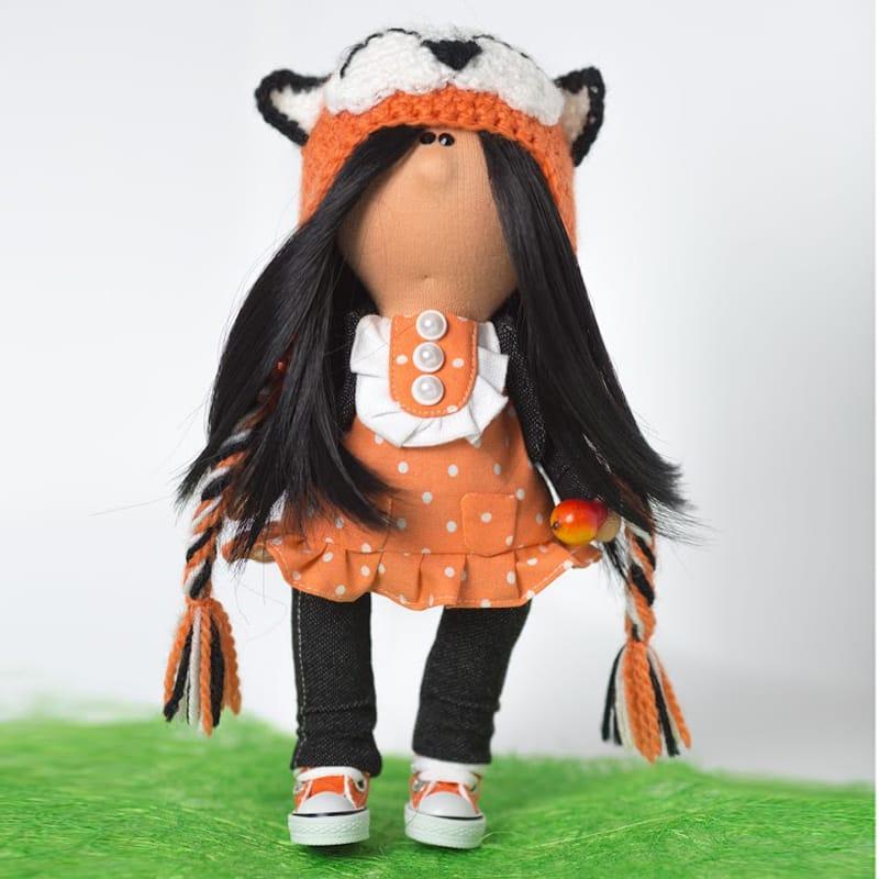 Нand made кукла из текстиля Девочка в Шапочке-Кошке