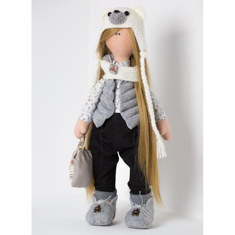 Кукла Девочка в шапочке Белый Мишка