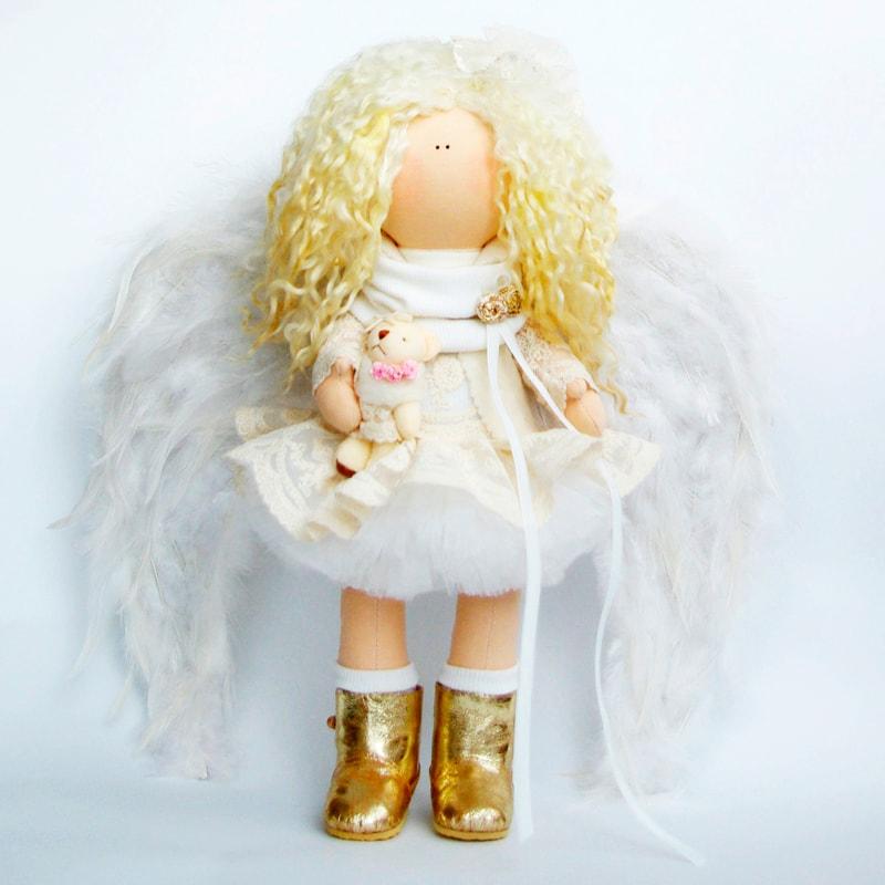 Лялька Тільда Ангел з ведмежам