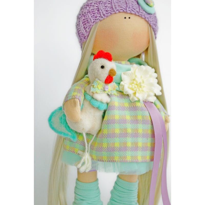 Кукла коллекционная в подарок Девочка с Петушком