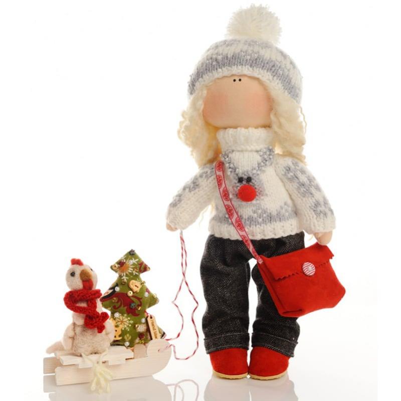 Кукла текстильная Девочка с Санками