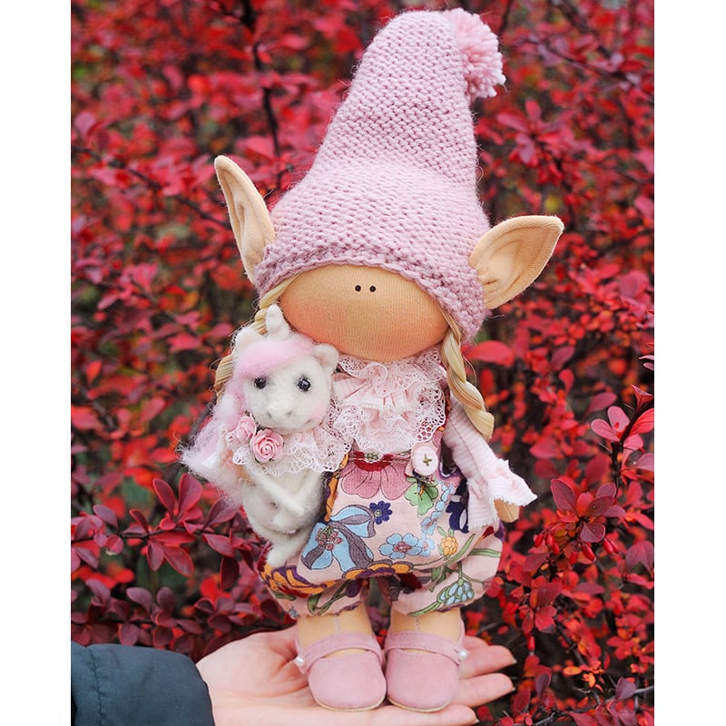 Інтер'єрна лялька Ельфик Тео з Собачкою