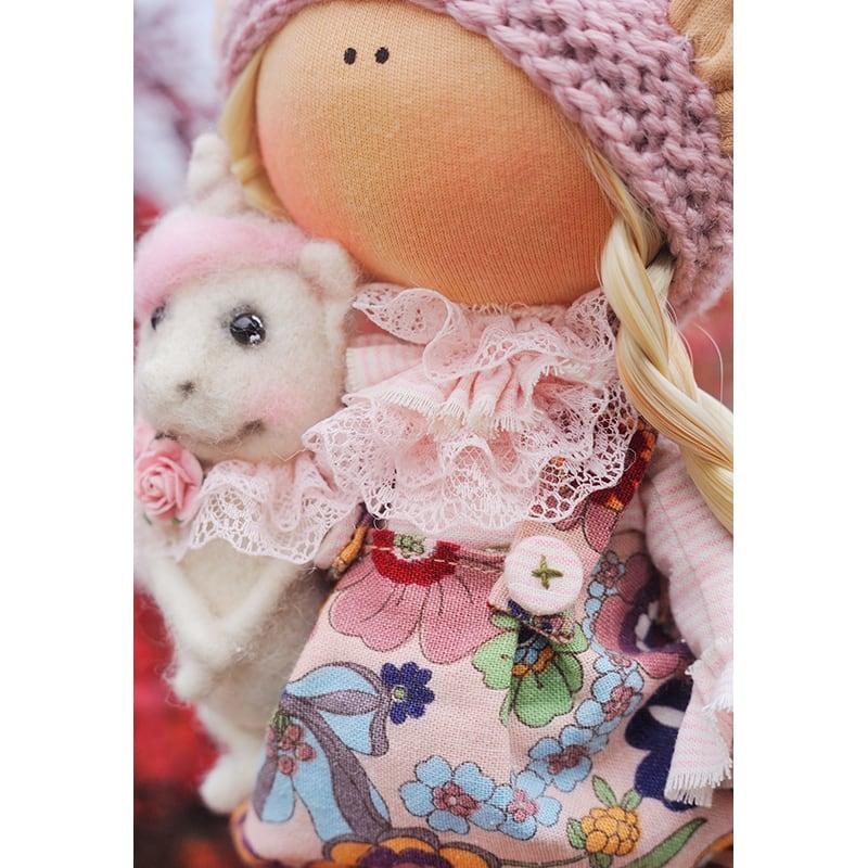 Новогодняя кукла тильда Эльфик Тео с собачкой