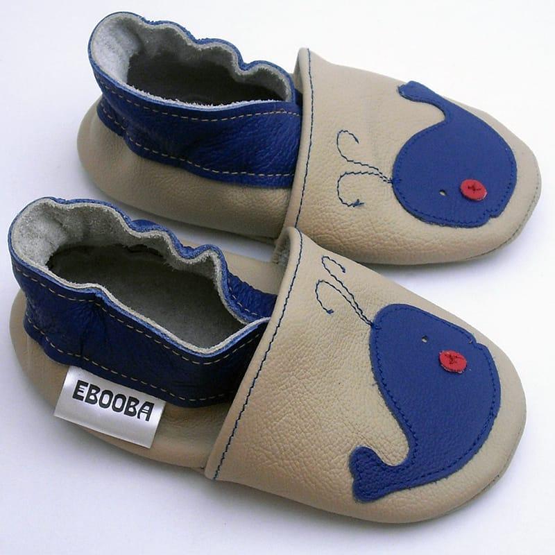 Брендовые кожаные чешки унисекс для детей Еbooba Синий Кит