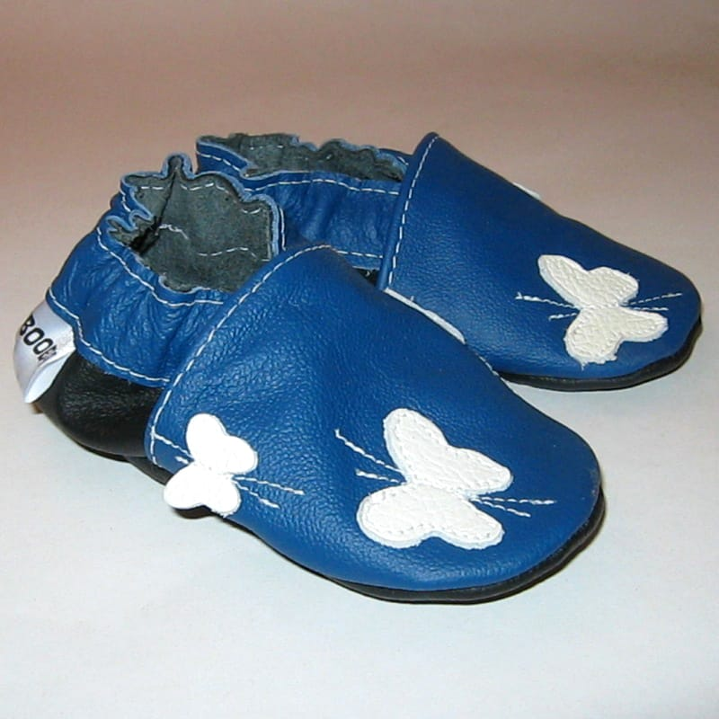 Handmade детская обувь унисекс Еbooba Бабочки (blue leather)