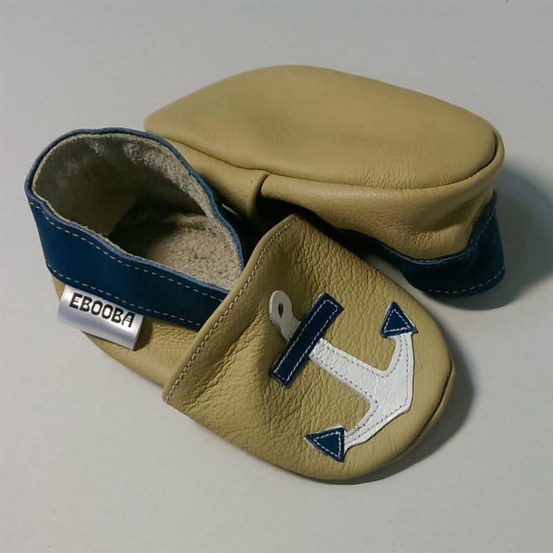 Яркая кожаная обувь для мальчика Еbooba Белый Якорь