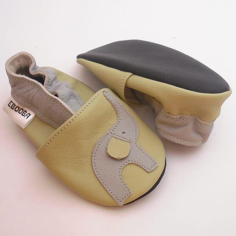 Роскошные тапочки-чешки унисекс Еbooba Слоник (light khaki leather)