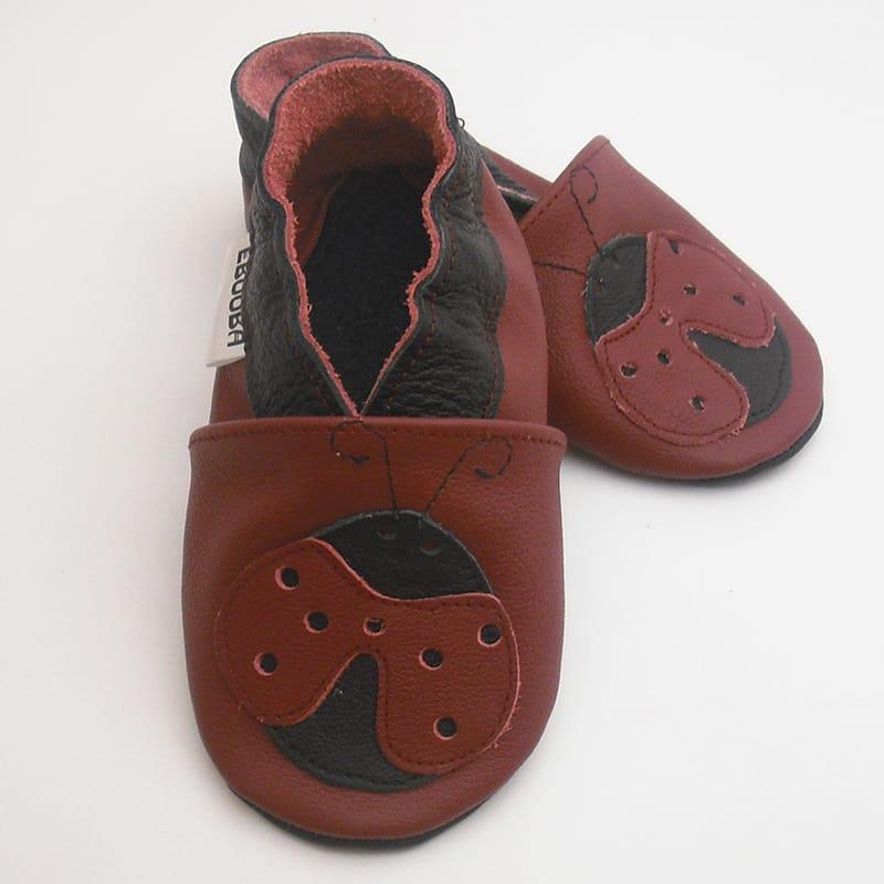 Модные чешки унисекс ручной работы Еbooba Божья коровка (red leather)