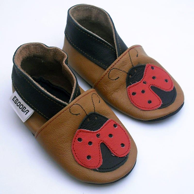 Шкіряне взуття для дівчаток Еbooba Червона Божа Корівка (brown leather)