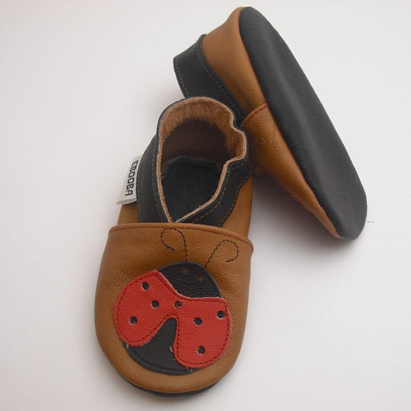 Кожаная обувь для девочек Еbooba Красная Божья Коровка (brown leather)