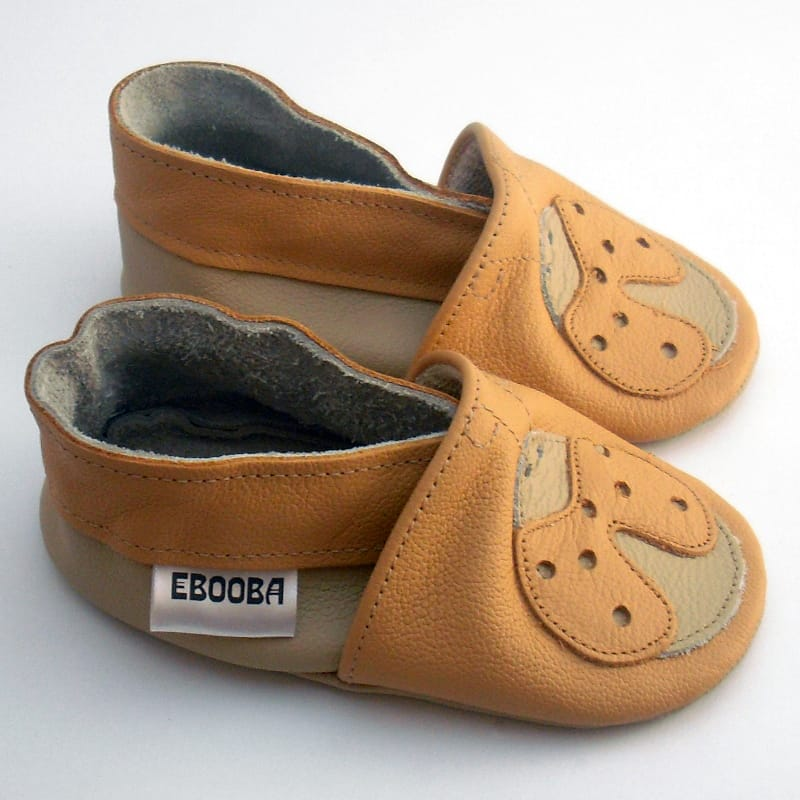 Handmade кожаная обувь для девочек Еbooba Рыжая Божья Коровка (beige leather)