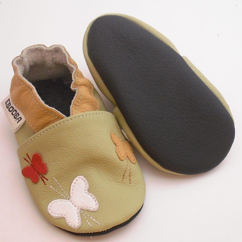 Handmade шкіряні туфельки для дівчинки Еbooba Метелики (light khaki leather)
