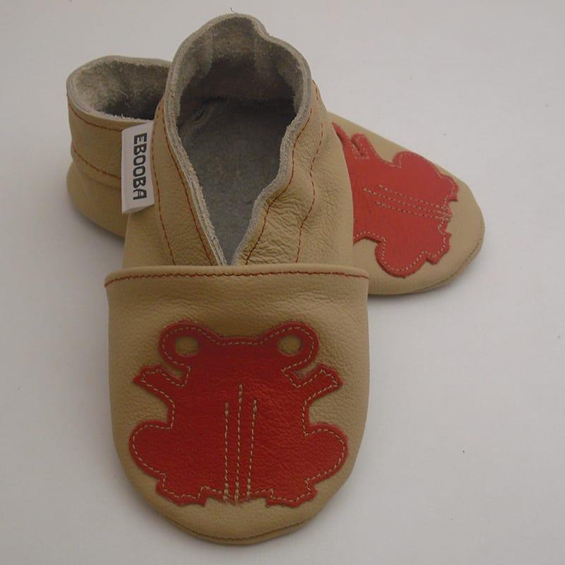 Брендовые унисекс детские туфельки-чешки Красная Лягушка (beige leather)