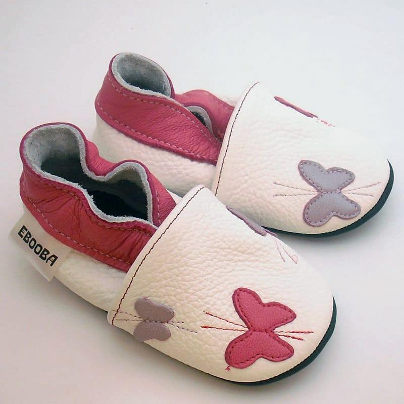 Handmade кожаные туфельки для девочки Еbooba Бабочки (white leather)
