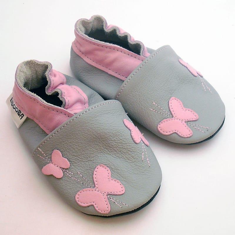 Шкіряні чешки для дівчинки Еbooba Метелики (gray leather)