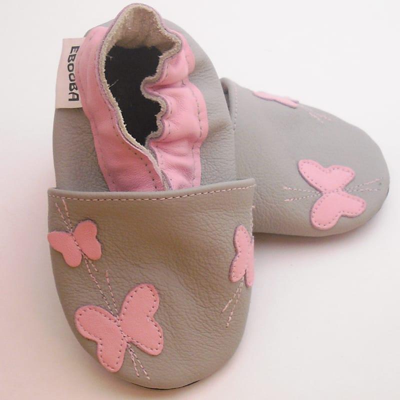 Кожаные чешки для девочки Еbooba Бабочки (gray leather)