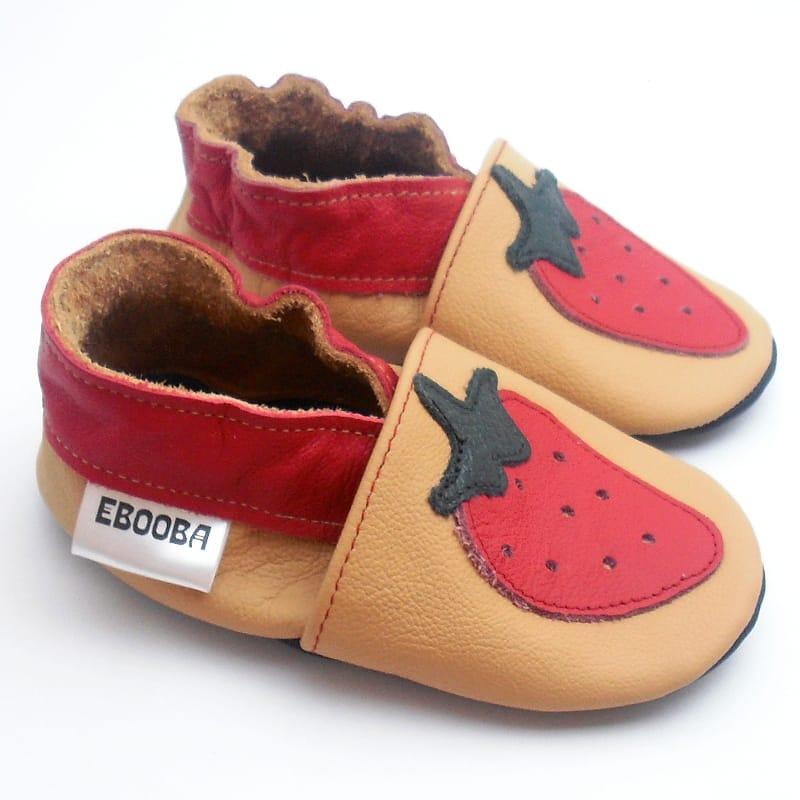 Модные унисекс чешки Еbooba Красная Клубничка (beige leather)