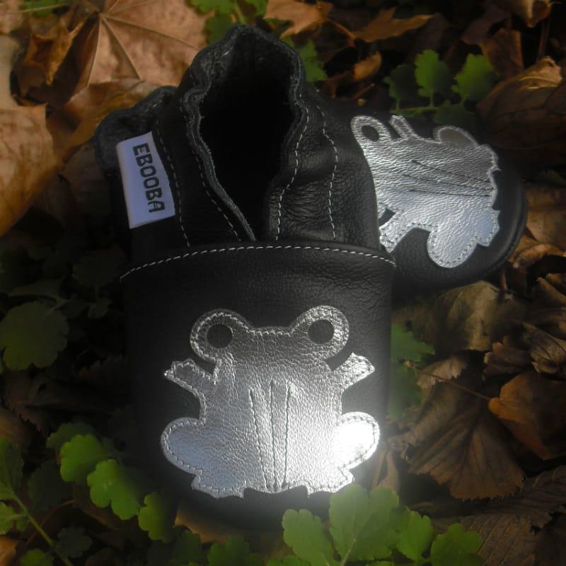 Модные тапочки унисекс ручной работы Еbooba Лягушка (black leather)