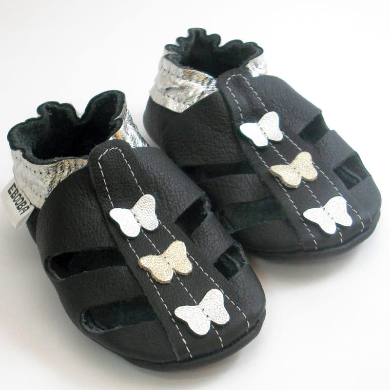 Изысканные чешки для девочки Еbooba Сандалии с Бабочками (black leather)
