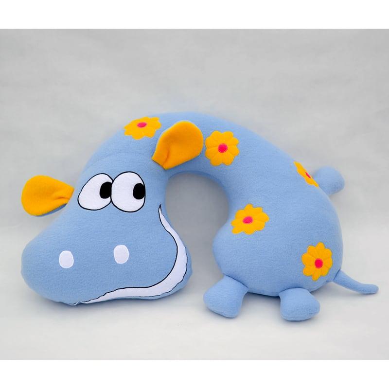 Подушка подголовник для мальчика Gray Hippo