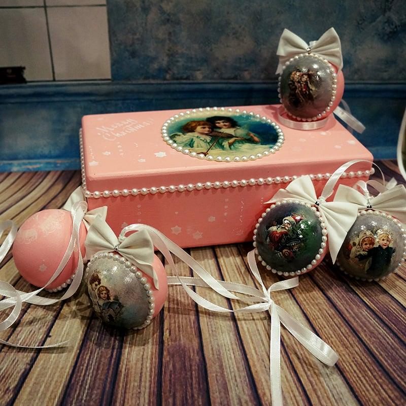 Дизайнерские елочные игрушки в подарок Ретро