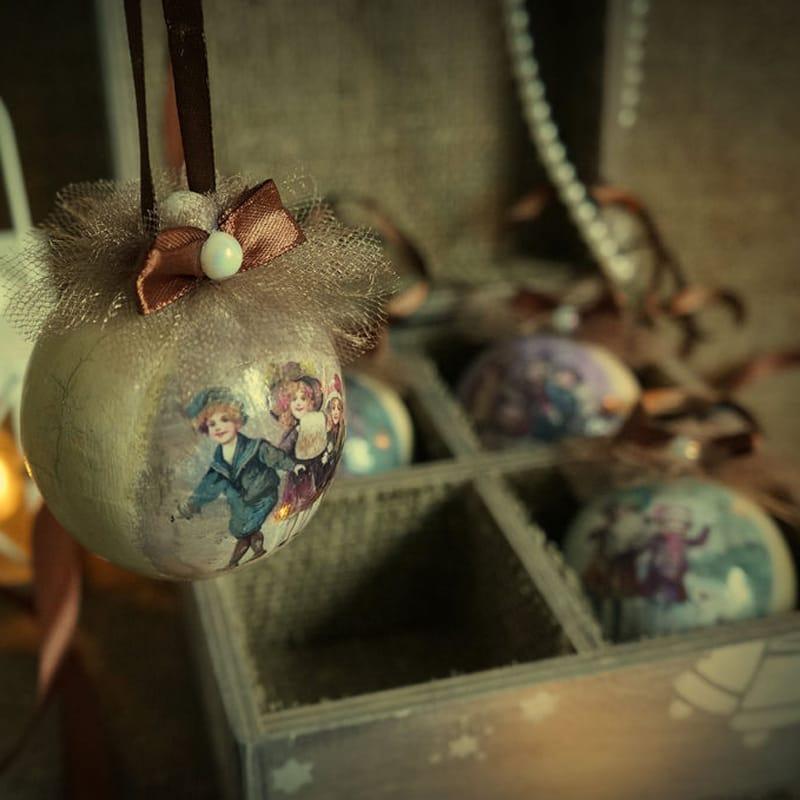 Новогодний набор деревянных елочных украшений Christmas Story