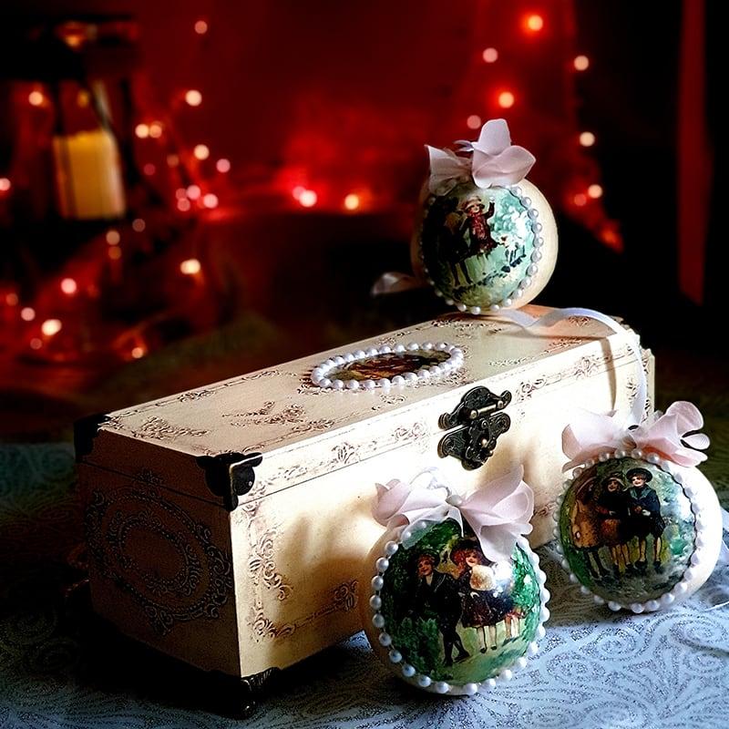 Дизайнерский набор деревянных елочных игрушек White Christmas