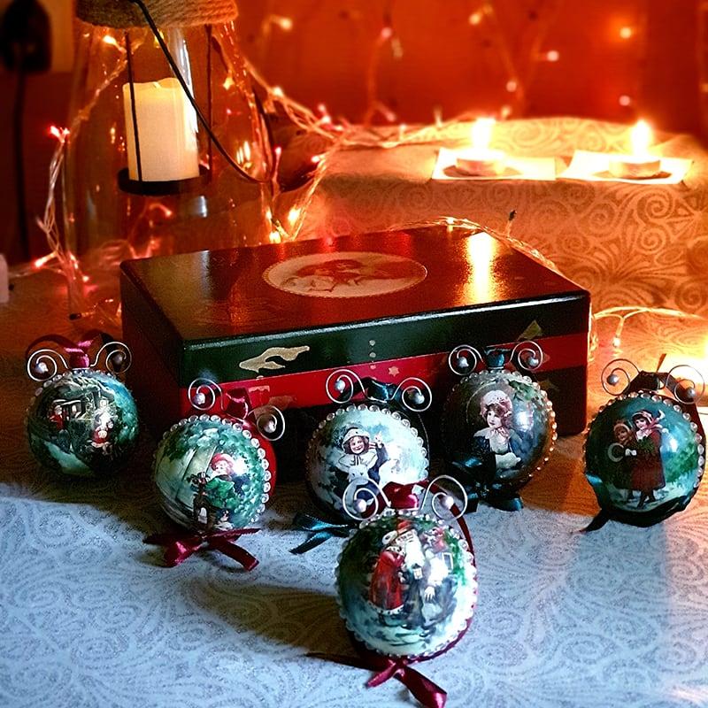 Уникальный набор винтажных елочных украшений Merry Christmas