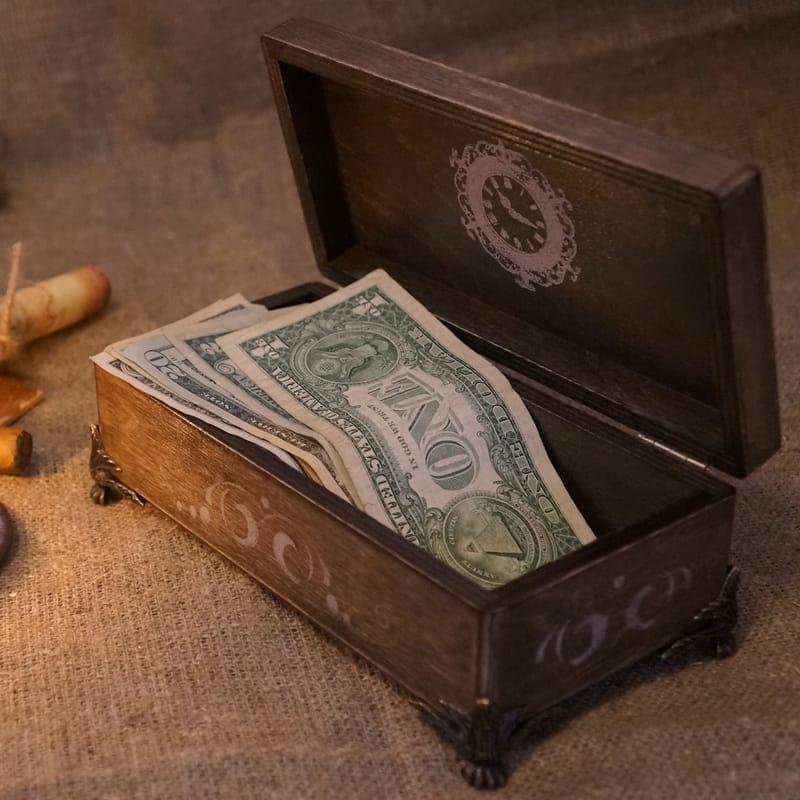 Дизайнерская мужская деревянная шкатулка для денег World Мap