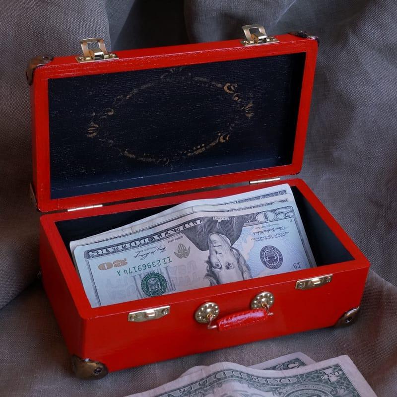 Скринька з дерева для зберігання і дарування грошей Sandal Caprice
