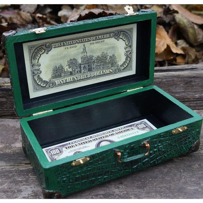 Винтажная шкатулка для денег hand made Valise Сrocodile